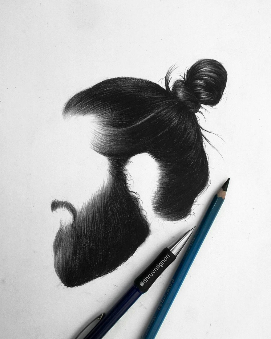 05-dhruvmignon-Minimalist-Realistic-Hair-Study-Drawings-www-designstack-co