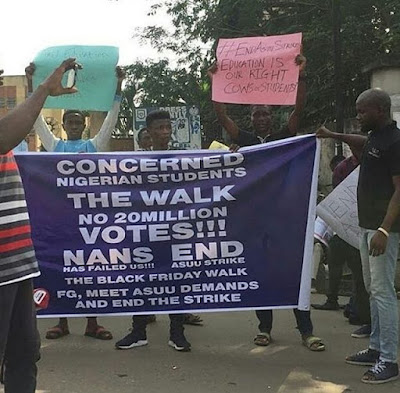 Students Of The University Of Lagos Make Peaceful Protest Against ASUU Strike. .