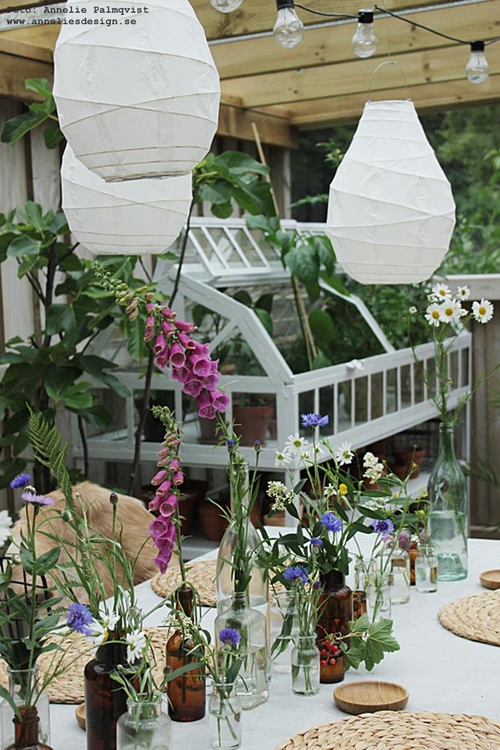 midsommardukning, midsommar, dukning, bordsdukning, duka, sommar, blommor, flaskor, växthus, miniväxthus, blåklint, prästkrage, trädgård, uteplats, trädäck, trädäcket, betongbord, bord, matplats, getskinn, annelies design, altan, lanterna, lanternor, webbutik, webbutiker, webshop, tips,