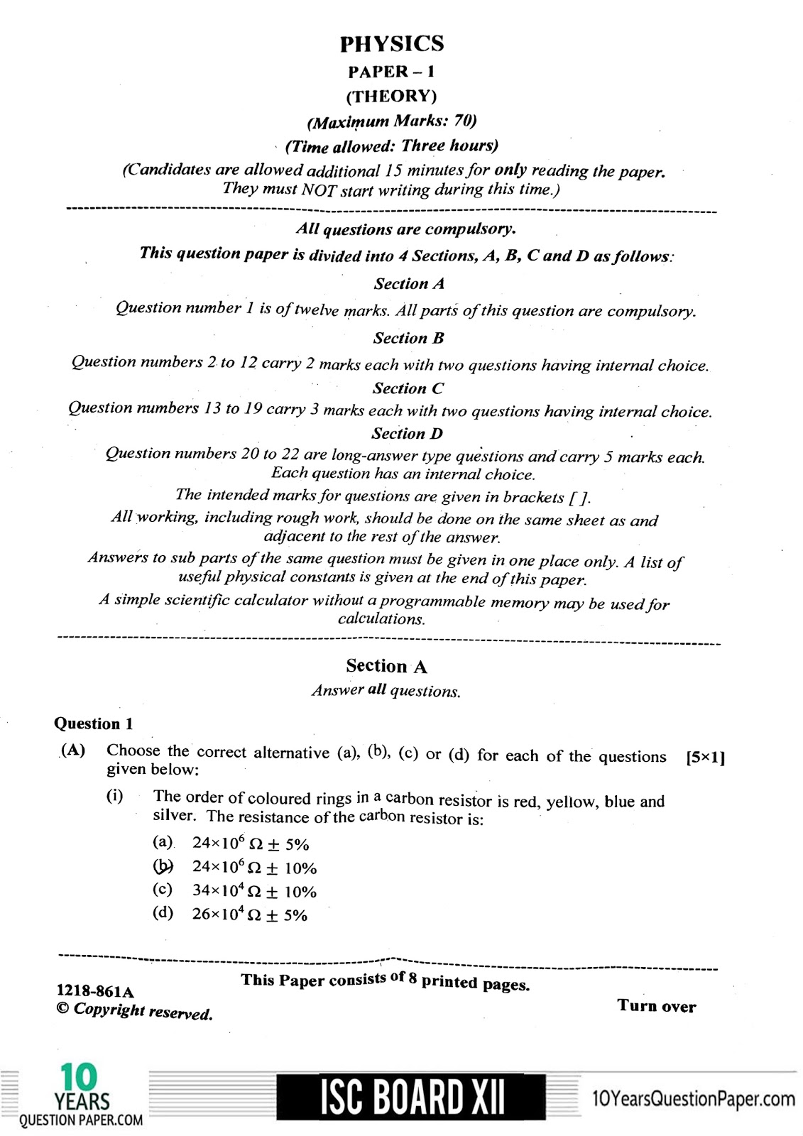 isc 2018 class 12th Physics paper 1 question paper