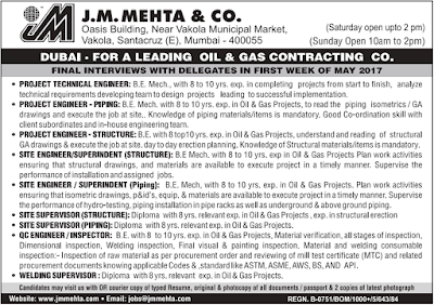 Recruitment by leading Oil & Gas Contracting Company