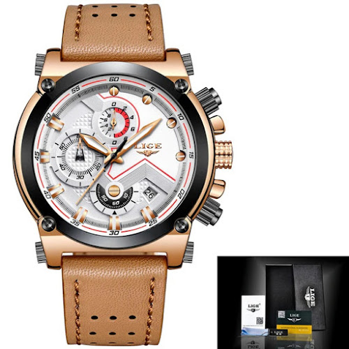 0c7033feeb5 LIGE Men Watch Male Leather Automatic date Quartz Luxury Brand with gift box