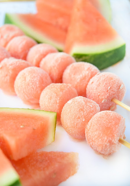 Frozen Watermelon Kabobs. Cold, refreshing ice pop treat for kids in the summer time. Made with fresh fruit, no sugar added, all natural ingreadients, and inexpensive!