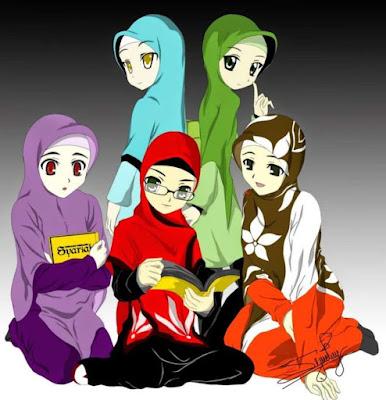 kartun pertemanan muslimah