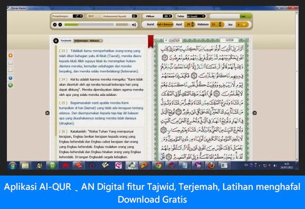Aplikasi Al-QUR'AN Digital fitur Tajwid, Terjemah, Latihan menghafal Download Gratis
