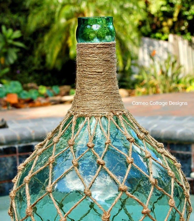 Cameo Cottage Designs Knotted Jute Net Demijohns Or