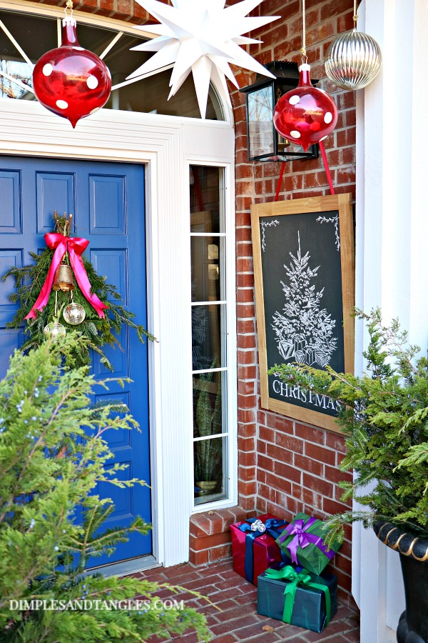 sherwin williams dignity blue, christmas decorations, porch decorations, merry christmas chalkboard