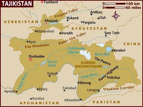 Peta Negara Tajikistan