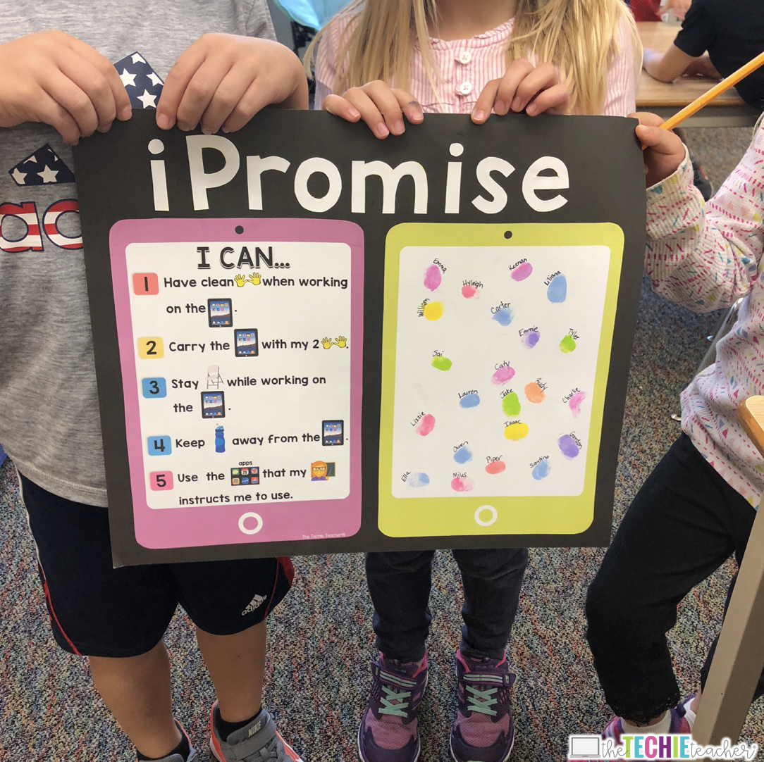 Establish rules and expectations for classroom iPads with the iPromise Poster. Students seal their promise by adding their thumbprint to the poster.