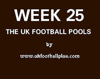 Week 25 UK Football Pools by www.ukfootballplus.com