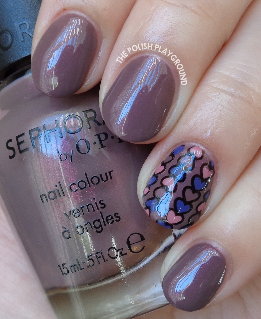 Purple and Pink Hearts Stamping Decal Nail Art