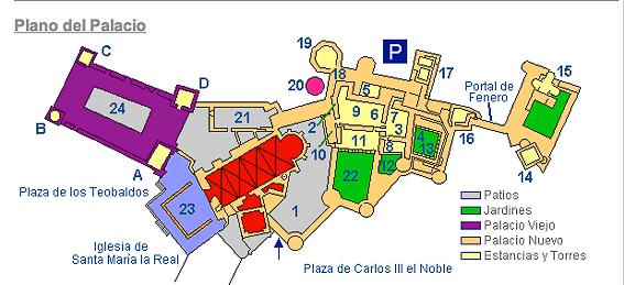 Plano del Palacio real de Olite.