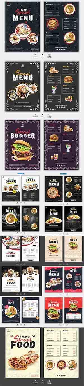 #مينيو مطاعم | مجموعة فلايرات أشكال مختلفه قوالب psd مينيو قائمة طعام Food Menu Restaurant Flyer