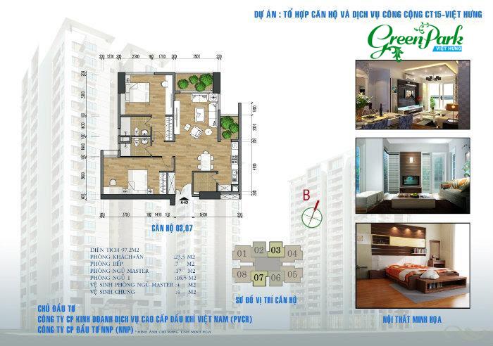 Mặt bằng căn hộ 03, 07 chung cư Việt Hưng Green Park Long Biên