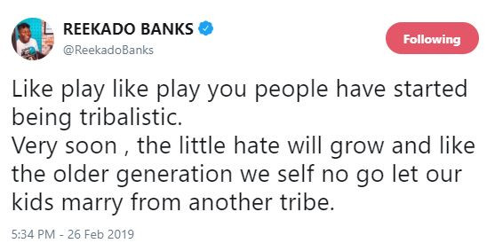 Reekado Banks Tweets on tribalism and the effect it will have on the new generation