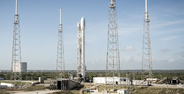 A Falcon 9 upgrade sits poised on Space Launch Complex 40 at Cape Canaveral Air Force Station prior to its launch on Dec. 21, 2015. This was the first commercial launch of the Falcon 9 upgrade, which the Air Force certified for National Security Space launches on Jan. 25. The upgraded version is taller and has more thrust than the previous version of the rocket. Standing 229 feet tall, the Falcon 9 upgrade burns a super-chilled mixture of liquid oxygen and rocket-grade kerosene colder than the propellants consumed on SpaceX's earlier launches. SpaceX successfully landed the rocket's first stage booster in a landing zone approximately six miles south of the launch pad. (Photo/SpaceX)
