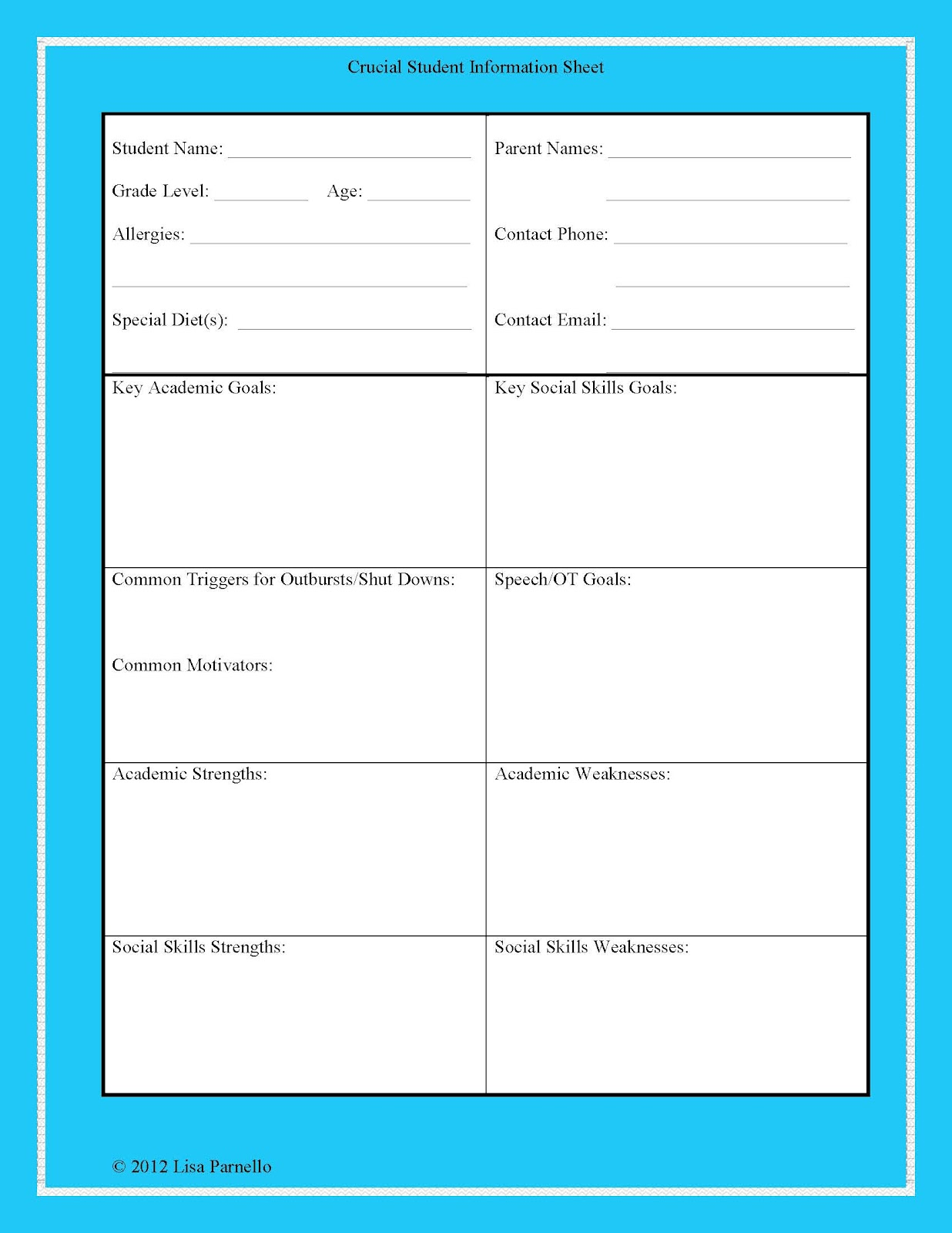 The Lower Elementary Cottage Student Information Sheet