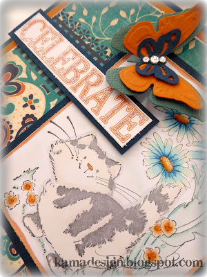 Penny Black celebrate card with cat by kamadesign