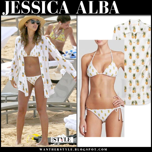 Jessica Alba in white pineapple print tory burch mira bikini what she wore
