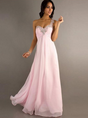 A-line One Shoulder Sleeveless Floor-length Chiffon Prom Dresses #FC003