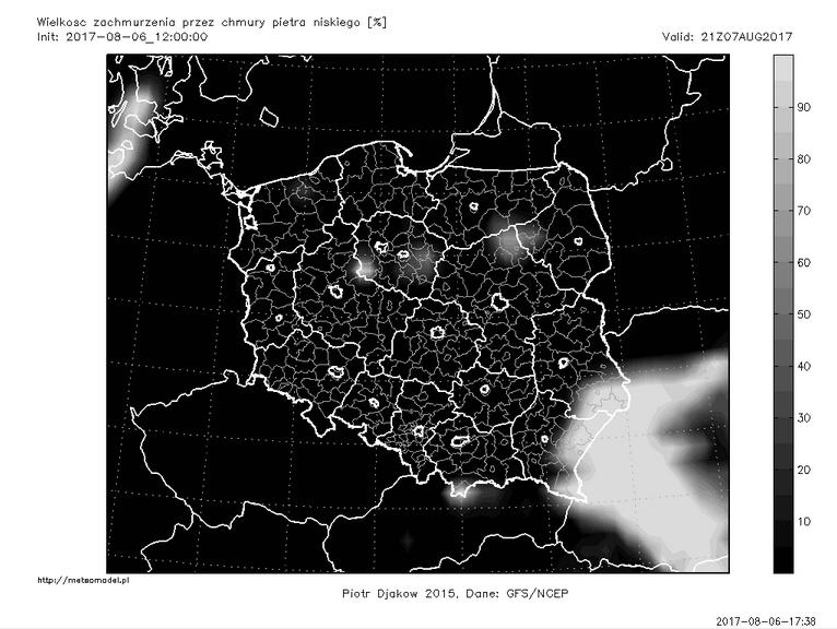 Ostatnia przed publikacją tekstu prognoza modelu GFS - zachmurzenie piętra niskiego 7 sierpnia o godz. 21:00 CEST. Źródło: meteomodel.pl