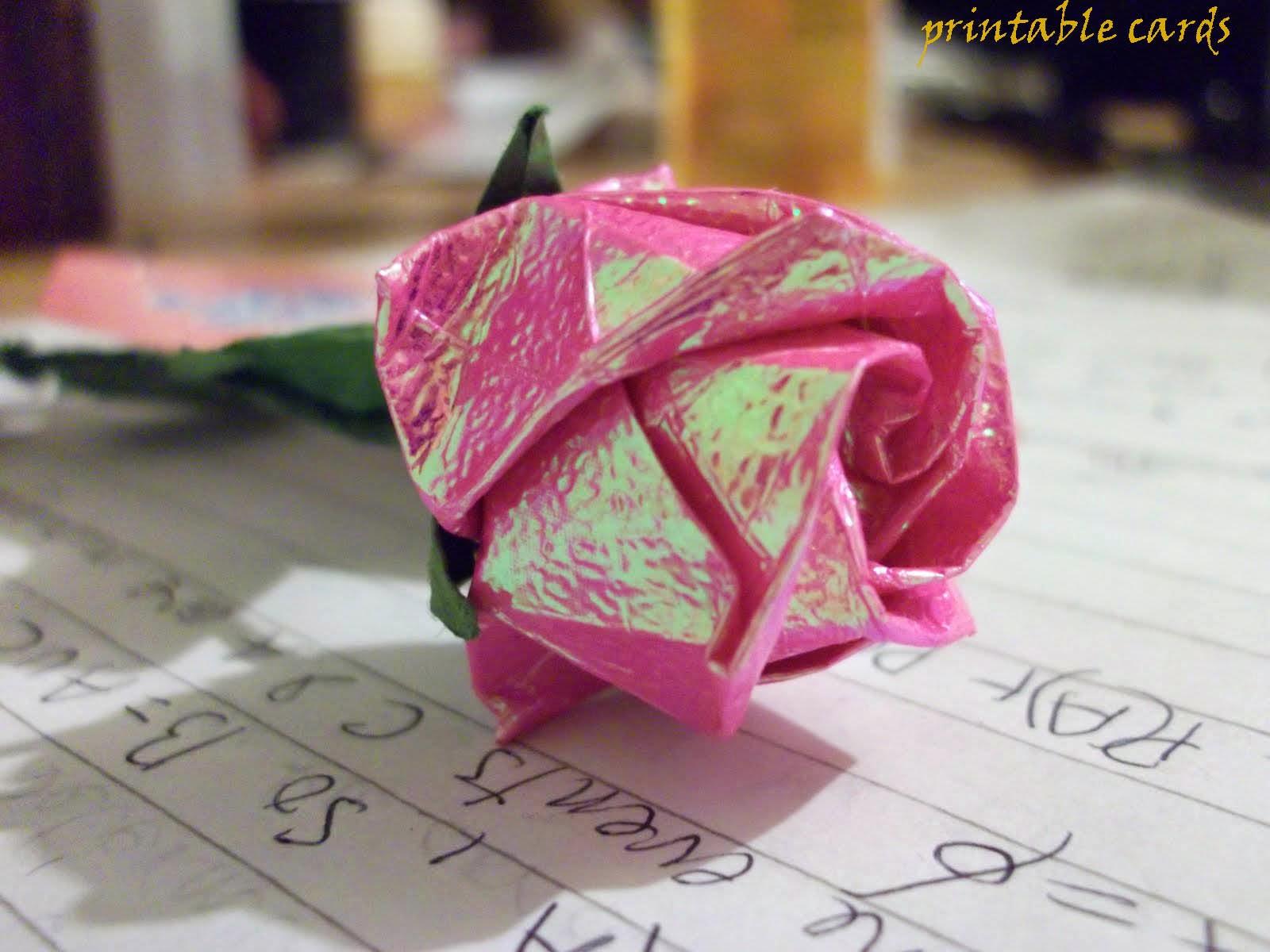 Free Printable Cards 2018 Free Printable Origami Rose