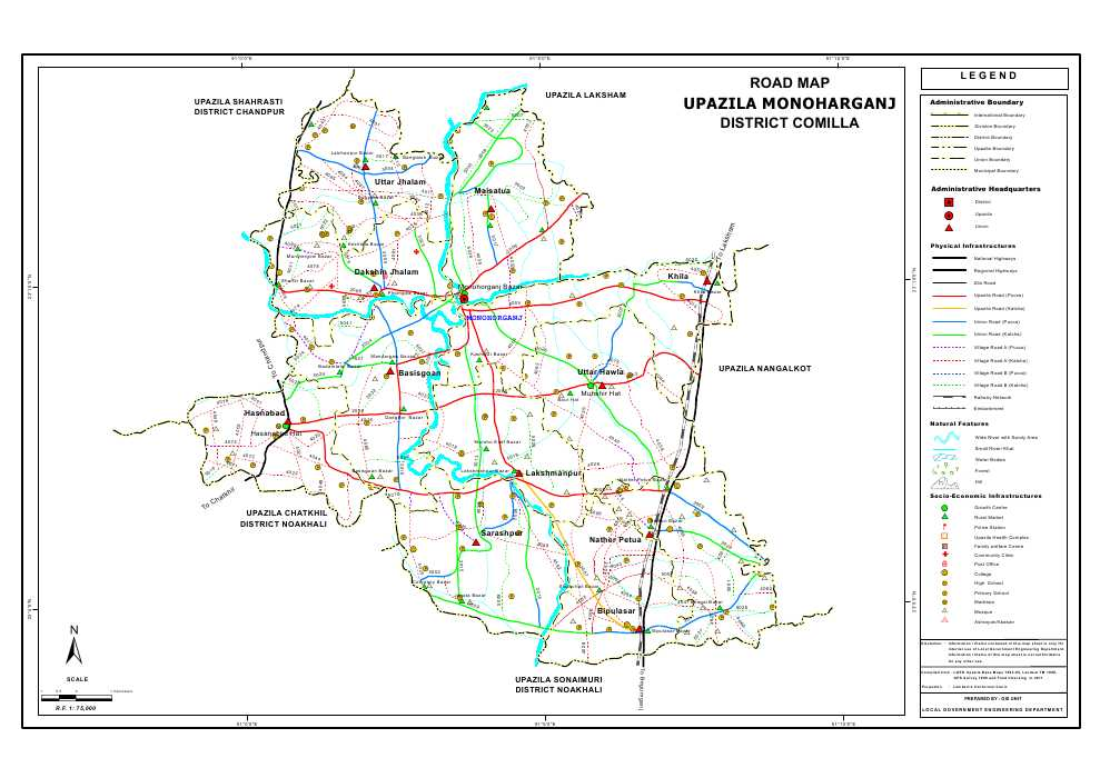 Monoharganj Upazila Road Map Comilla District Bangladesh