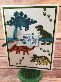 This masculine/boy birthday Island Indigo card uses Stampin' Up!'s No Bones About It stamp set.  It's so cute for boys!  We also used a Stamping Sponge, Banner Triple Punch, and the Island Indigo 1/4 Cotton Ribbon.  www.stampwithjennifer.blogspot.com