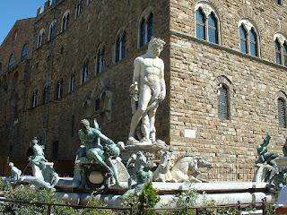 The Fountain of Neptune in front of the Palazzo Vecchio in Piazza della Signoria