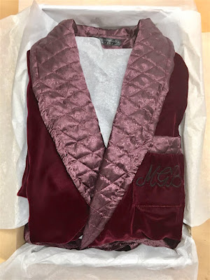 monogrammed mens dressing gown vintage red velvet warm long english gentleman dress robe quilted shawl collar