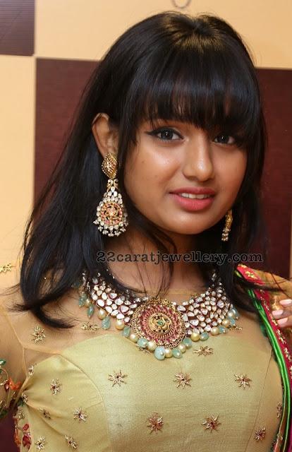 Anjali in Pachi work Kundan Choker