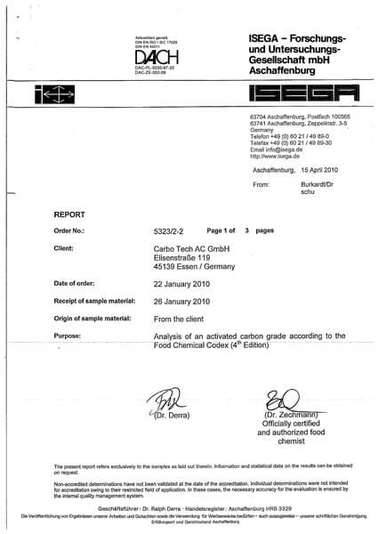 Food Grade Certificate (FGC) Karbon Aktif CarboTech