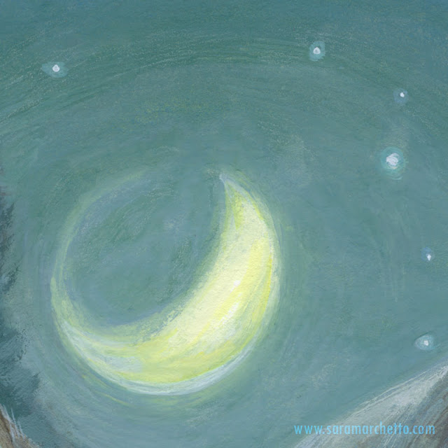 moon painting detail