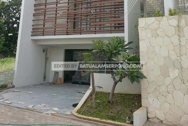 pagar minimalis dengan batu alam templek