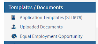 Image of job application templates of section of CalCareers