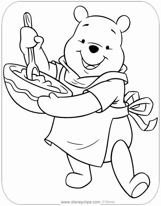 Tranh cho bé tô màu gấu Pooh 15