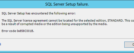 SQL Server Installation - license agreement cannot be located
