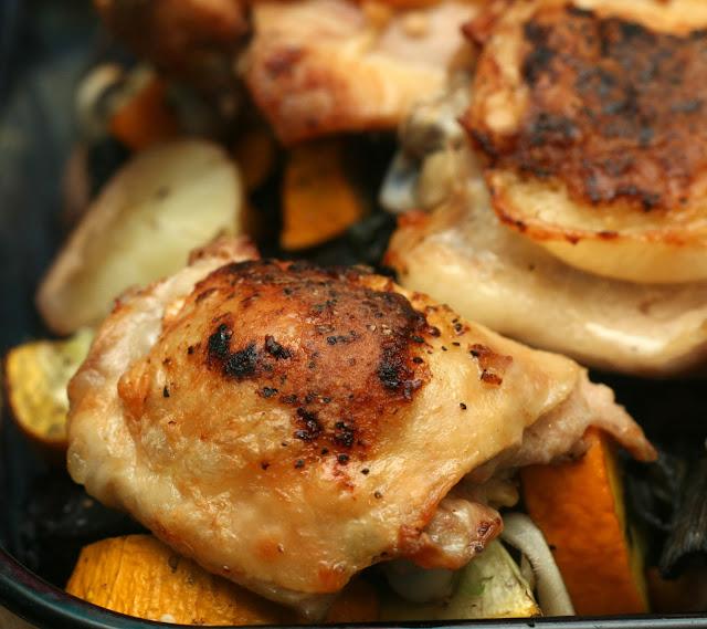 Crispy Chicken Thighs with Portobellos, Zucchini and Potatoes