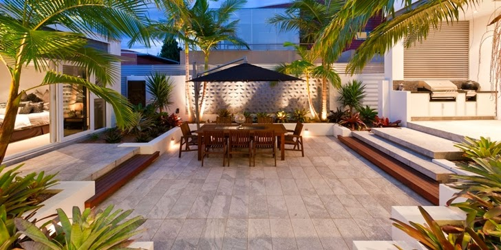 Vegetation and terrace at night in Coastal Oasis landscape project by Urban Exotic