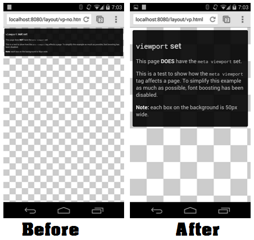 Before and After adding viewport Tag