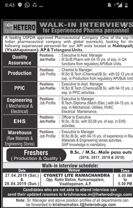HETERO LABS LIMITED Walk In Interview  For QA/Production/PPIC/Engineering/EHS/Warehous on 27th-28th April 2019