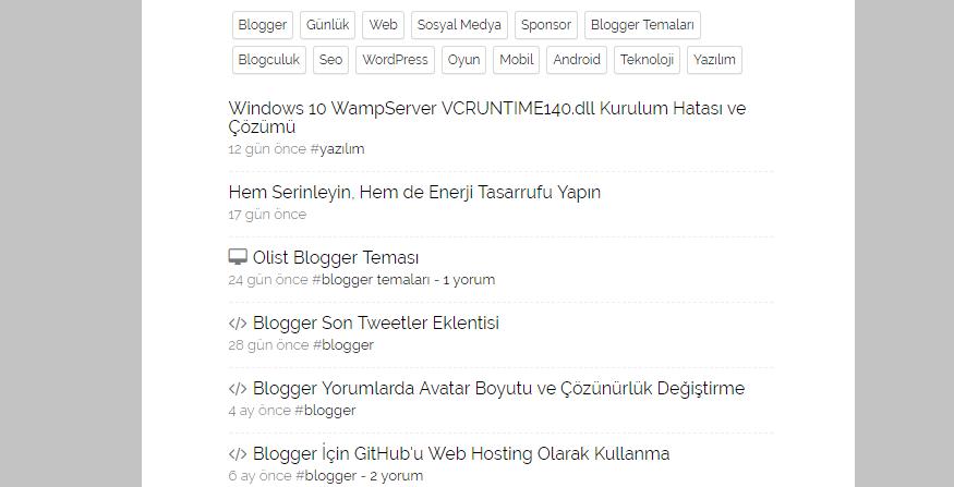 blogger etiketleri listeleme