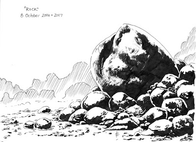 Inked drawing of a large boulder surrounded by smaller rocks and stones.