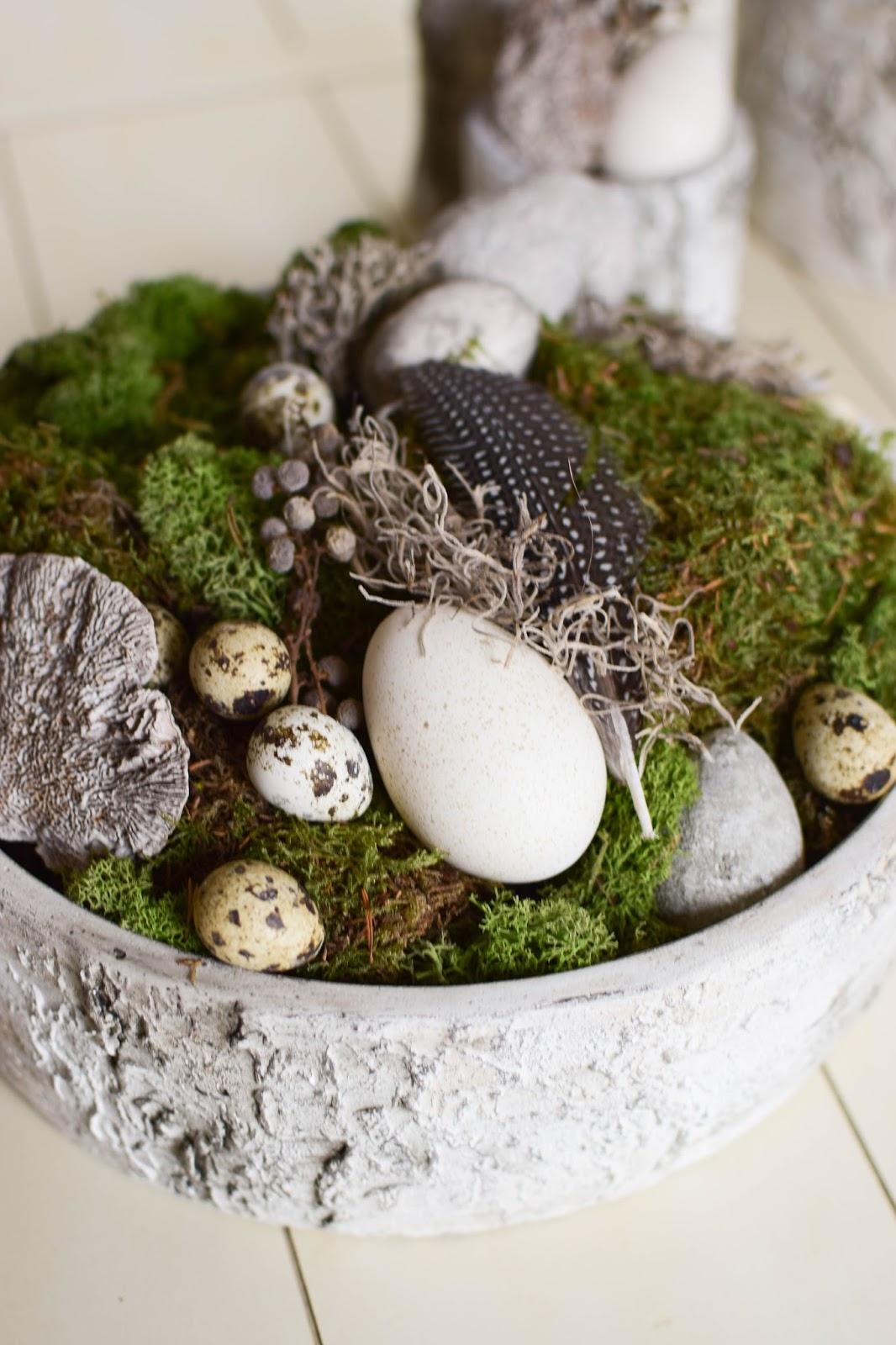 DIY Deko Schale für Frühling und Ostern mit Moos Eier Naturmaterialien Dekoidee Naturdeko selbermachen