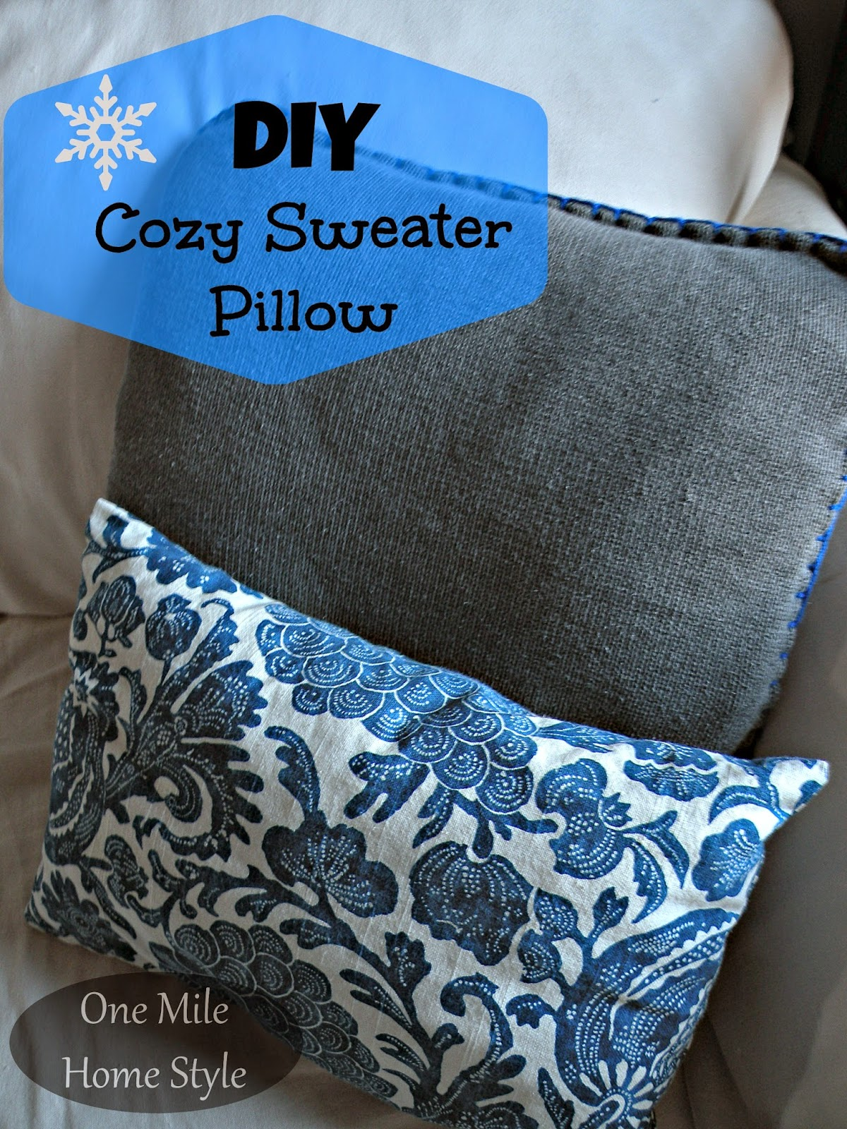 Easy DIY Cozy Sweater Pillow | One Mile Home Style