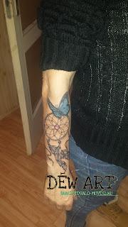 álomfogó tetoválás, alkar tetoválásm csajos tetoválás, Déw art