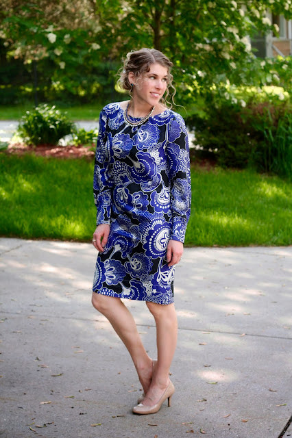 Banana Republic blue floral dress, nude heels