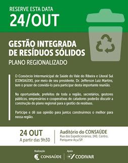 CONSAÚDE realiza encontro 'Gestão Integrada de Resíduos Sólidos'