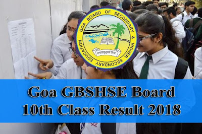 Goa Board 10th Class Result 2018 | GBSHSE Board Class 10 Result Download