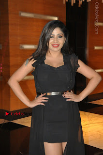 Telugu Actress Model Madhulagna Das Latest Spicy Stills in Black Short Dress  0027.JPG